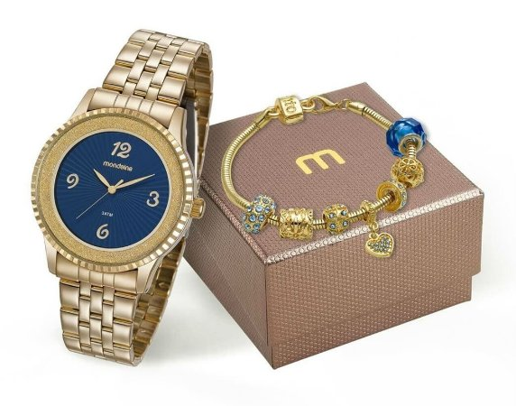 Relógio Mondaine Feminino 99279LPMKDE1K1 + Pulseira