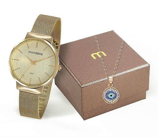 Relógio Mondaine Feminino 53681LPMKDE1K1 + Colar