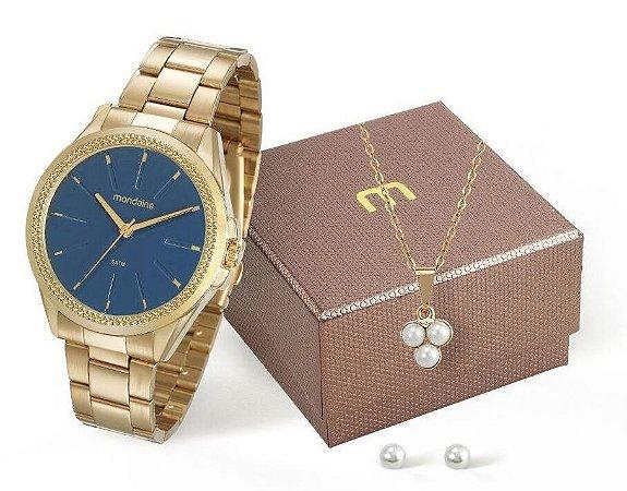 Relógio Mondaine Feminino 53538LPMVDE2K3 + Colar e brincos
