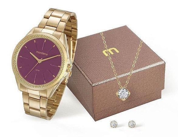 Relógio Mondaine Feminino 53538LPMVDE3K3 + Colar e brincos