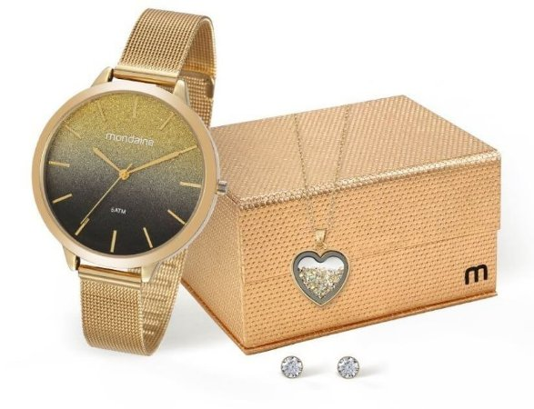 Relógio Mondaine Feminino 53618LPMKDE2K1 + Colar e brincos
