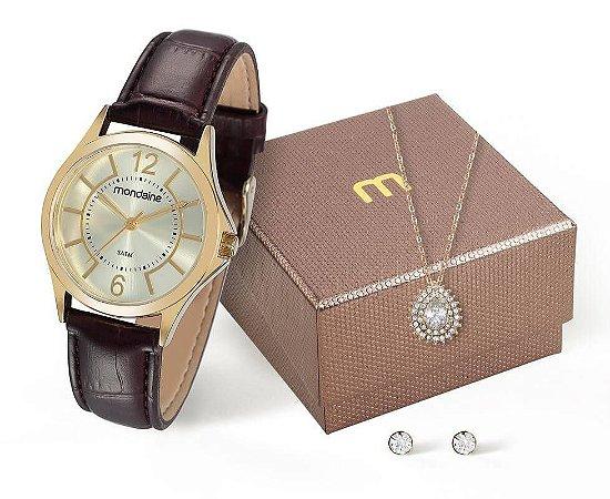 Relógio Mondaine Feminino 83277LPMVDH1K1 + colar e brincos