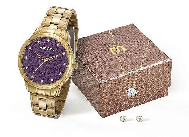 Kit Relógio Mondaine Feminino 99253LPMVDE1K1 Colar e brincos