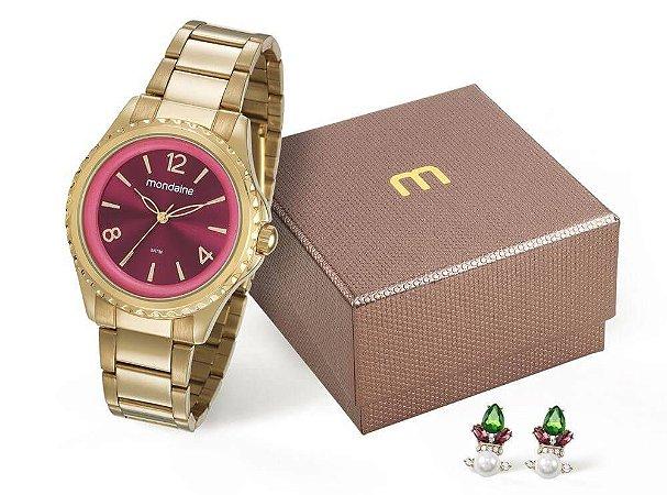 Relógio Mondaine Feminino 53600LPMVDE1KY + brincos