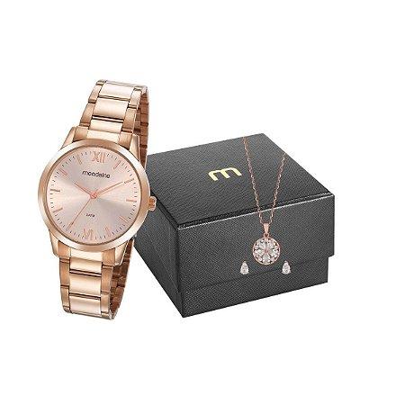 Relógio Mondaine Feminino 53922LPMGRE4K1 + Colar e brincos