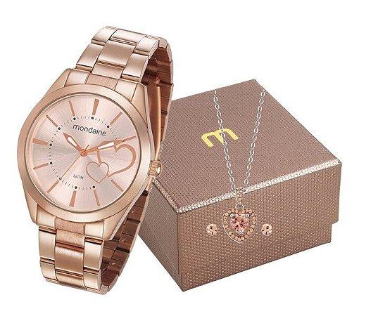 Relógio Mondaine Feminino 53690LPMGRE4K1 + colar