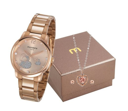 Relógio Mondaine Feminino 53627LPMVRE2K1 + Colar e brincos