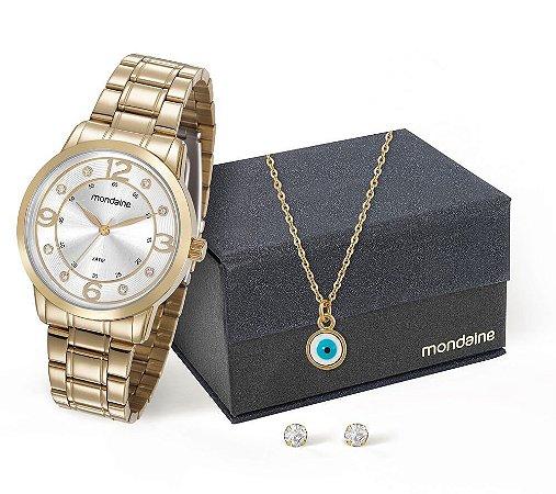 Relógio Mondaine Feminino 83367LPMVDE1K + Colar e brincos