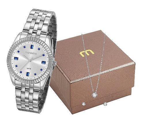 Relógio Mondaine Feminino 99328L0MGNE3K1  + Colar e brincos