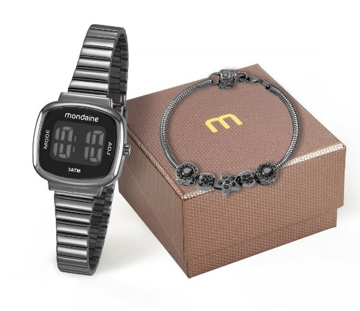 Kit Relógio Mondaine Feminino 53717LPMVPE3K1 com pulseira Digital