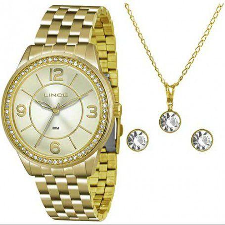 Relógio Lince Feminino LRG4340L KT05C2KX + Colar + Brincos