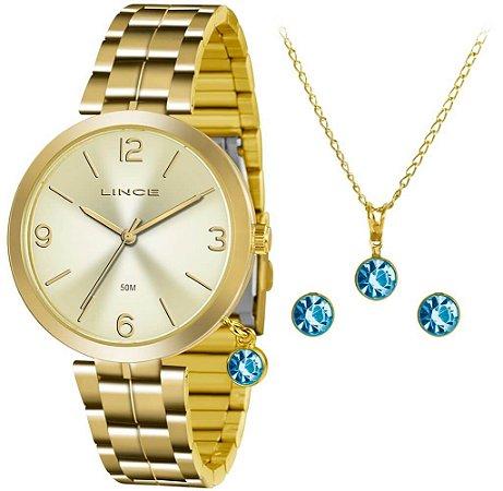 Relógio Lince Feminino LRG4458L KT68C2KX  + Colar + Brinco
