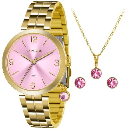 Relógio Lince Feminino LRG4458L-KT70R2KX  + Colar + Brinco
