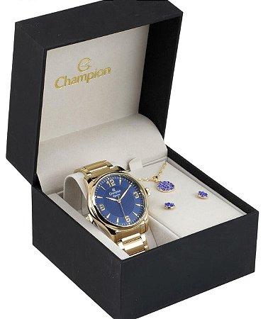 Relógio Champion Feminino Elegance CN27778K + Colar e brincos