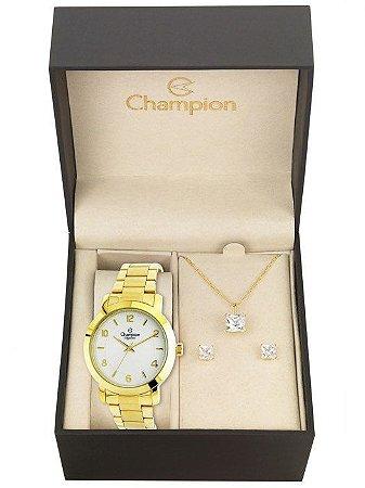 Kit Relógio Champion Elegance Feminino CN25065W - Colar e Brincos