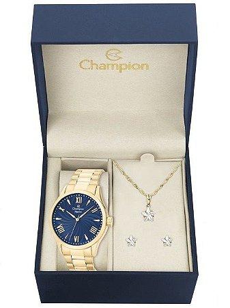 Kit Relógio Champion Elegance Feminino CN27796K com Colar e Brincos