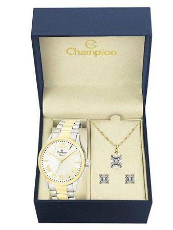 Kit Relógio Champion Elegance Feminino CN27796D com Colar e Brincos