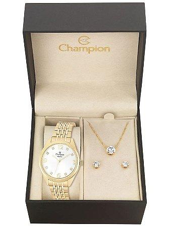 Kit Relógio Champion Elegance Feminino CN26251W com Colar e Brincos