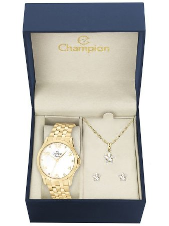 Kit Relógio Champion Elegance Feminino CN26260W com Colar e Brincos
