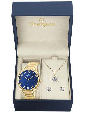 Kit Relógio Champion Elegance Feminino CN27652K com Colar e Brincos