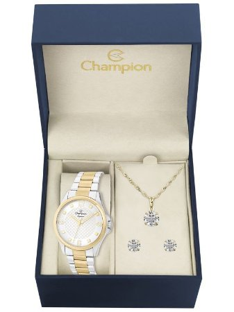 Kit Relógio Champion Elegance Feminino CN27563C com Colar e Brincos