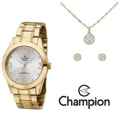Kit Relógio Champion Passion Feminino CH24268D com Colar e Brincos