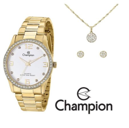 Kit Relógio Champion Passion Feminino CN29043W com Colar e Brincos