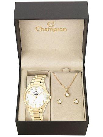Kit Relógio Champion Elegance Feminino CN26242W com Colar e Brincos