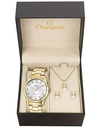 Kit Relógio Champion Rainbow Feminino CN29909W com Colar e Brincos