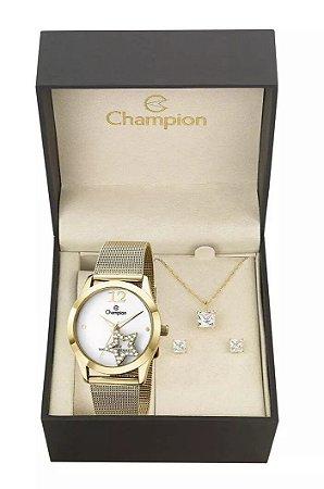 Kit Relógio Champion Elegance Feminino CH25918W com Colar e Brincos