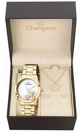 Kit Relógio Champion Elegance Feminino CH25909W com Colar e Brincos