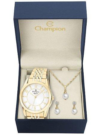 Kit Relógio Champion Elegance Feminino CN26233W com Colar e Brincos