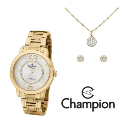 Kit Relógio Champion Passion Feminino CH24259D com Colar e Brincos