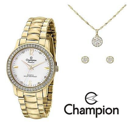 Kit Relógio Champion Passion Feminino CN28599W com Colar e Brincos