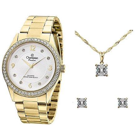 Kit Relógio Champion Passion Feminino CN28884D com Colar e Brincos