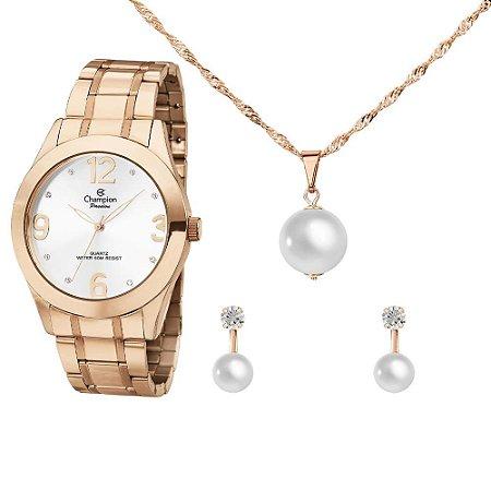 Kit Relógio Champion Passion Feminino CH24268E com Colar e Brincos