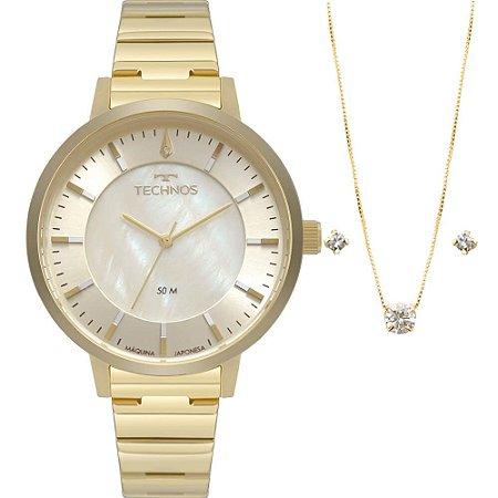 Kit Relógio Technos Feminino 2033CQ/K4X com colar e brincos