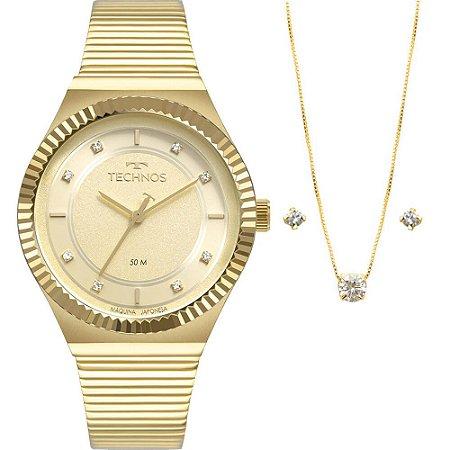 Kit Relógio Technos Feminino 2035MRU/K4X com colar e brincos