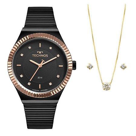 Kit Relógio Technos Feminino 2035MRW/K5P com colar e brincos