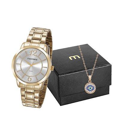 Kit Relógio Mondaine Feminino 83431LPMVDE1K4 com colar