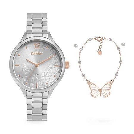 Kit Relógio Condor Feminino CO2036MUX/K4K  + pulseira e brincos