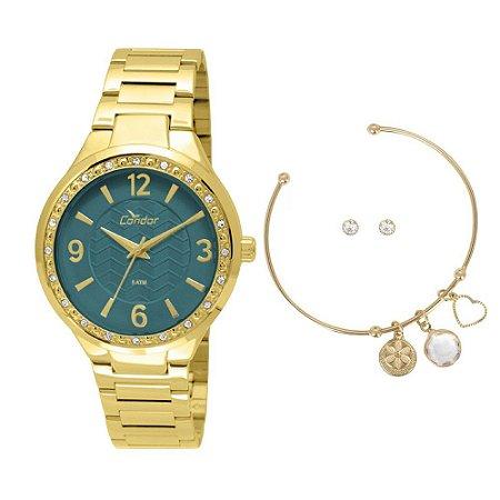 Kit Relógio Condor Feminino CO2035KTH/K4V + pulseira e brincos