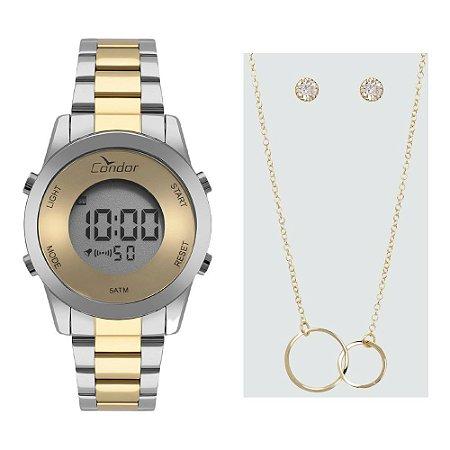 Kit Relógio Condor Feminino COBJ3279AC/K5D + colar e brincos
