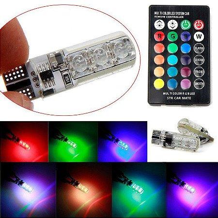 Par Lâmpadas T10 Rgb 5050 + Controle (16 Cores + 4 Funções) Led Smd Strobo