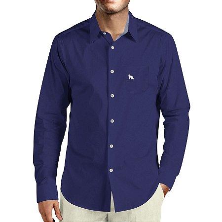 a9d77a9a66 Camisa Social Masculina Lobo Branco Vip daywork navy blue