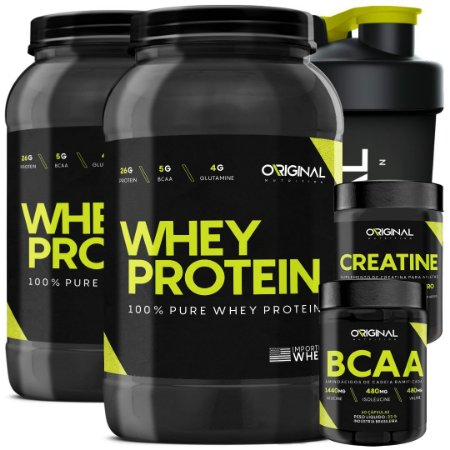 f51dafe11 Kit 2x 100% Pure Whey Protein ON + Bcaa + Creatina + Copo - Original ...