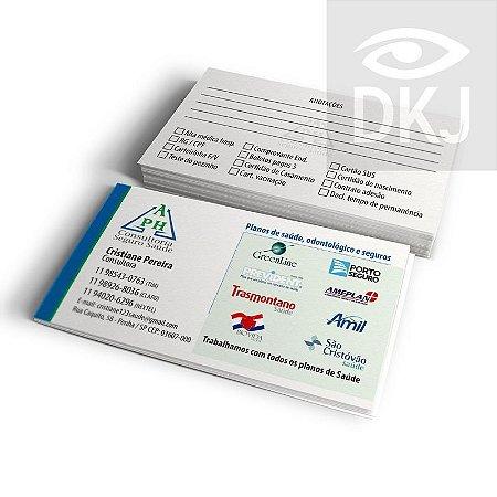Cartão de visita 4x1 cores em papel cartão 300 g/m² com verniz UV total corte reto