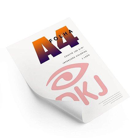 Folha A4 impressão colorida um lado em papel couché brilho 150 g/m²