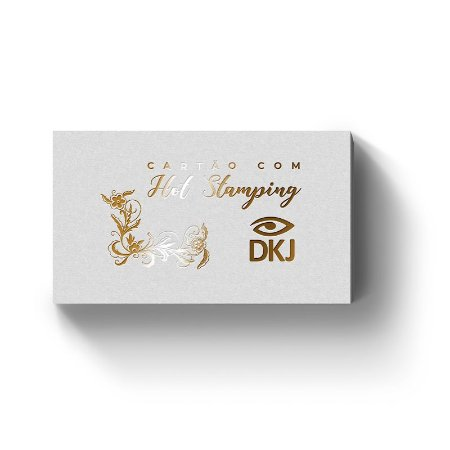 Cartão de visita 9x5 cm hot stamping dourado frente laminação bopp frente e verso corte reto 4x0 cores em couché 300g