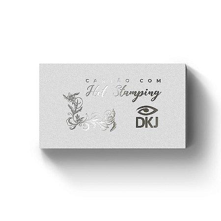 Cartão de visita 9x5 cm hot stamping prata frente laminação bopp frente e verso corte reto 4x4 cores (colorido frente e verso) em couché 300g